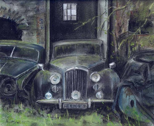 078 - Old Cars, pastle