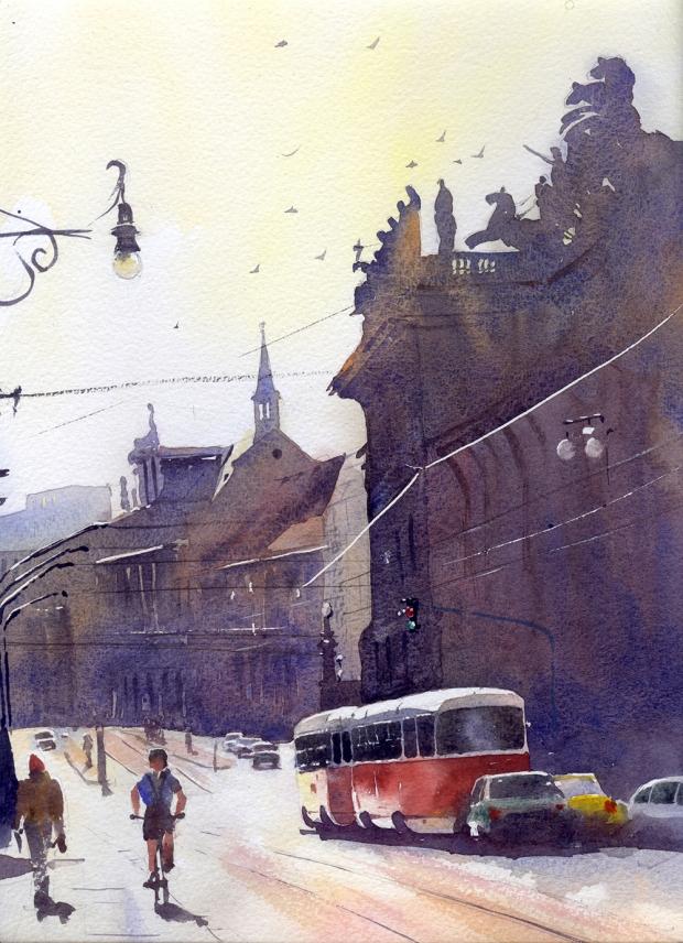 088 - Red Tram, Prague