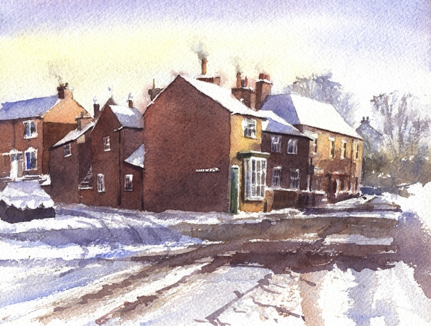 090 - Cottages at Huncote In Snow, Leicestershire